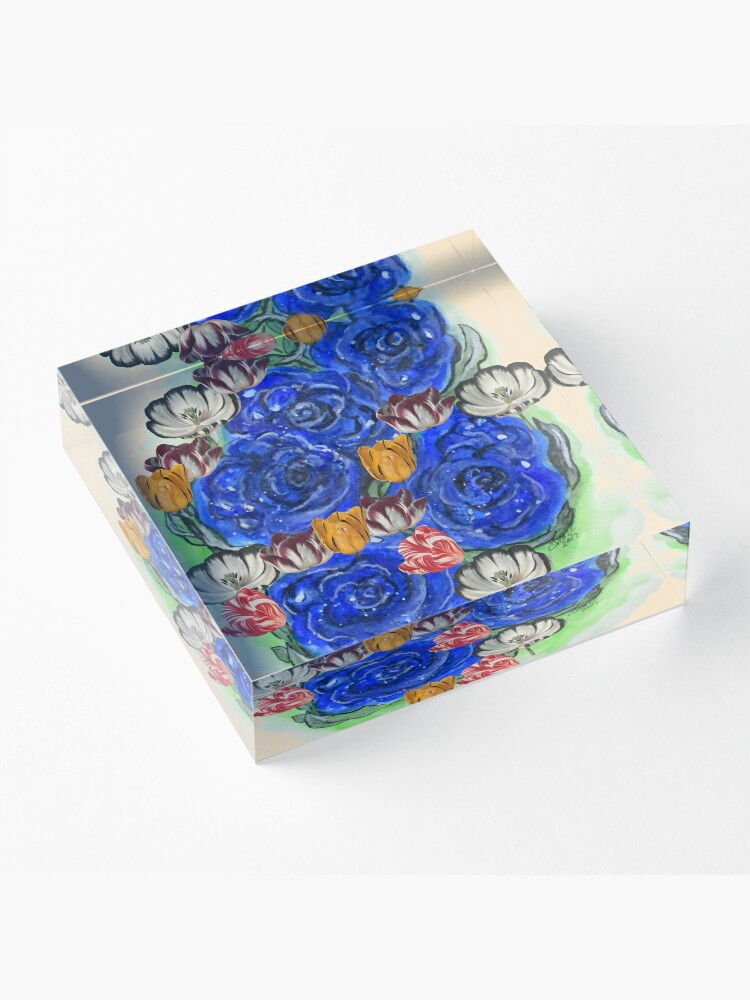Alternate view of Blue Roses and Tulip Fantasy Acrylic Block