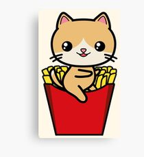 Kawaii Cat Fries Cute Canvas Print