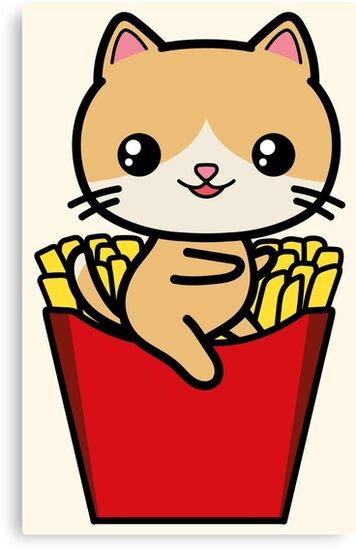 Kawaii Cat Fries Cute by awesomekawaii