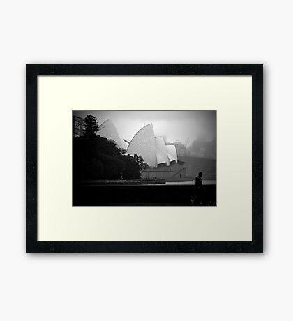 Sailing In The Fog Framed Print