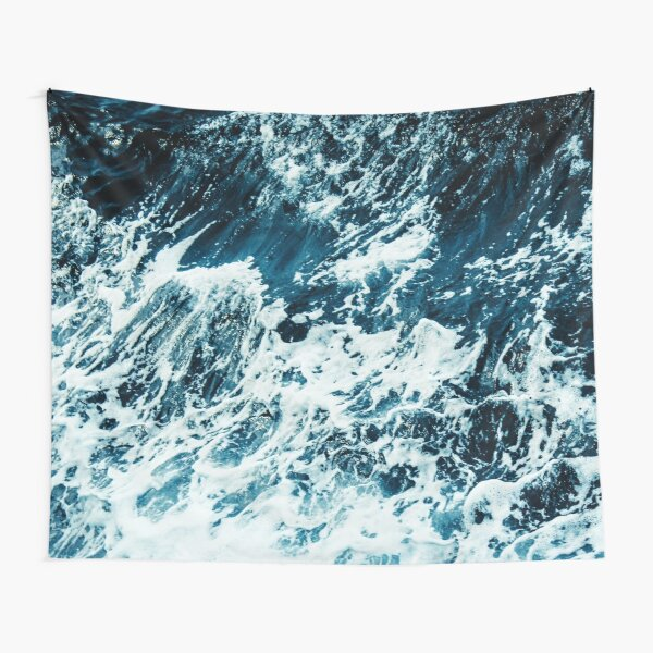 Disobedience - ocean waves painting texture Tapestry