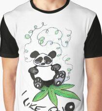 I Like Bio Panda Ganja Weed Vegan Art  Graphic T-Shirt