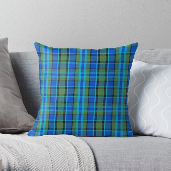 Westy Tartan Blue   Bulli Boys Throw Pillow
