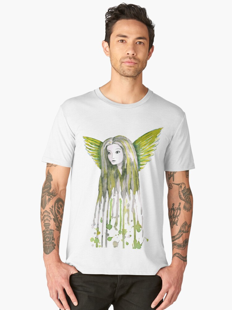 A watercolor of an girl with angel wings  Men's Premium T-Shirt Front