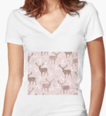 Blushing reindeer Women's Fitted V-Neck T-Shirt