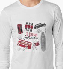 Love London Tourist Phone Box Red Bus Beefeater British Flag T-Shirt