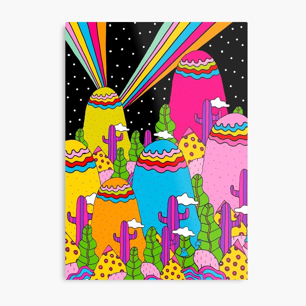 Night Sky Rainbow Metal Print