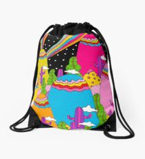 Night Sky Rainbow Drawstring Bag