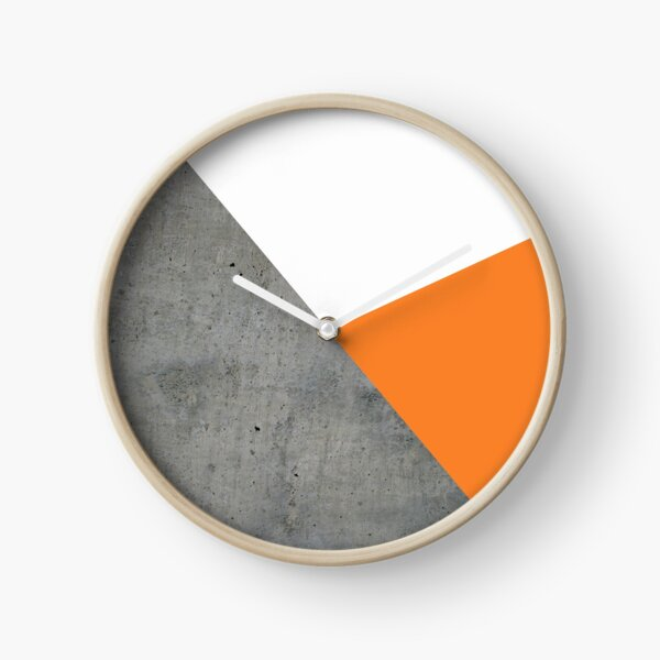Concrete Tangerine White Clock
