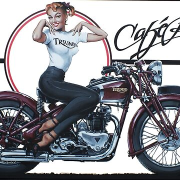 Triumph Cafe Racer Girl by Tee-Art