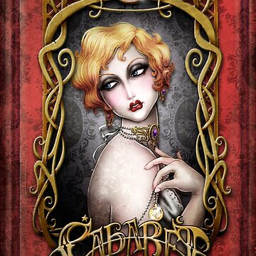 CABARET cover - Art Nouveau framed Pin up by medusadollmaker