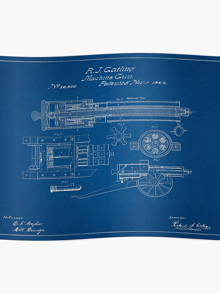 1862 Gatling Gun Patent Drawing Blueprint | Poster
