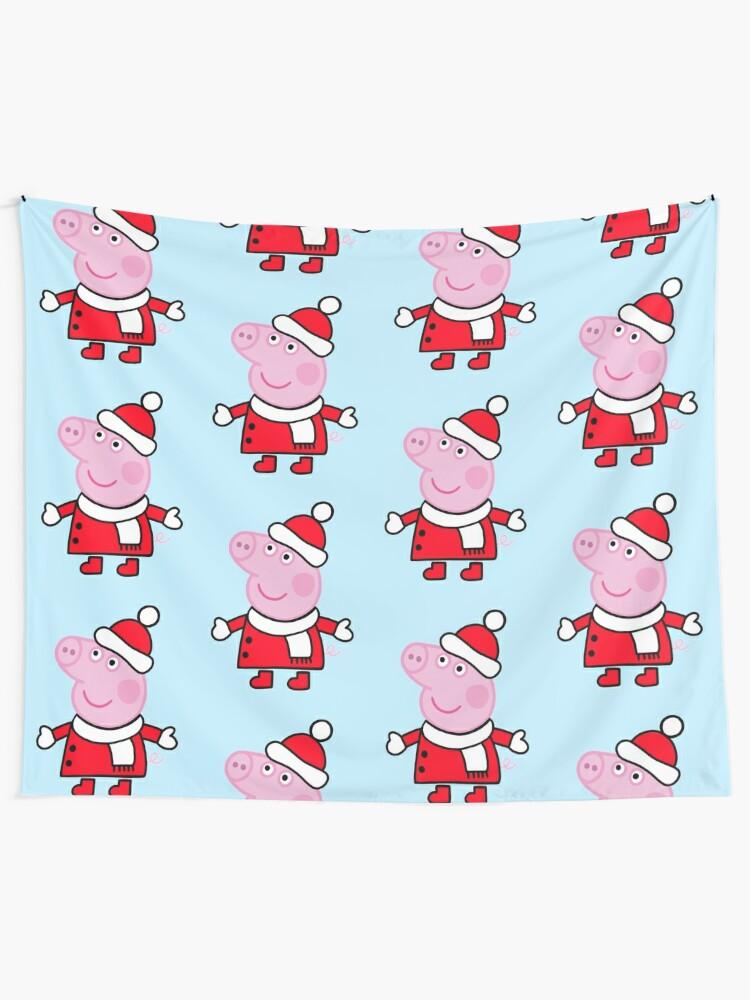 Peppa Pig Christmas.Peppa Pig Christmas Outfit Wall Tapestry