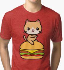 Kawaii Cat Burger Cute Tri-blend T-Shirt