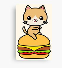 Kawaii Cat Burger Cute Canvas Print