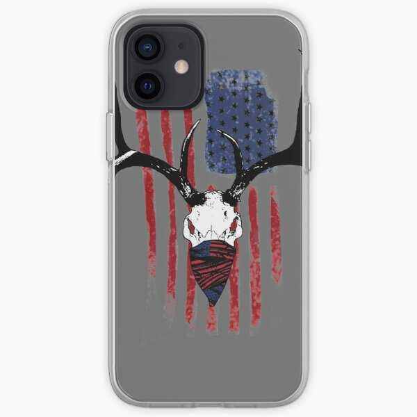 American Flag Buck Skull with Bandana Art iPhone Soft Case