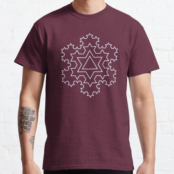 Koch Snowflake Fractal - White Outline Classic T-Shirt
