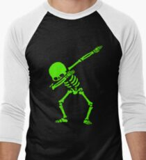 Dabbing Skeleton Green Men's Baseball ¾ T-Shirt