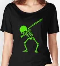 Dabbing Skeleton Green Women's Relaxed Fit T-Shirt