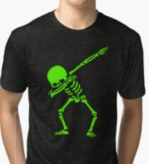 Dabbing Skeleton Green Tri-blend T-Shirt