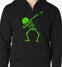 Dabbing Skeleton Green Zipped Hoodie