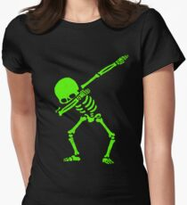Dabbing Skeleton Green Women's Fitted T-Shirt