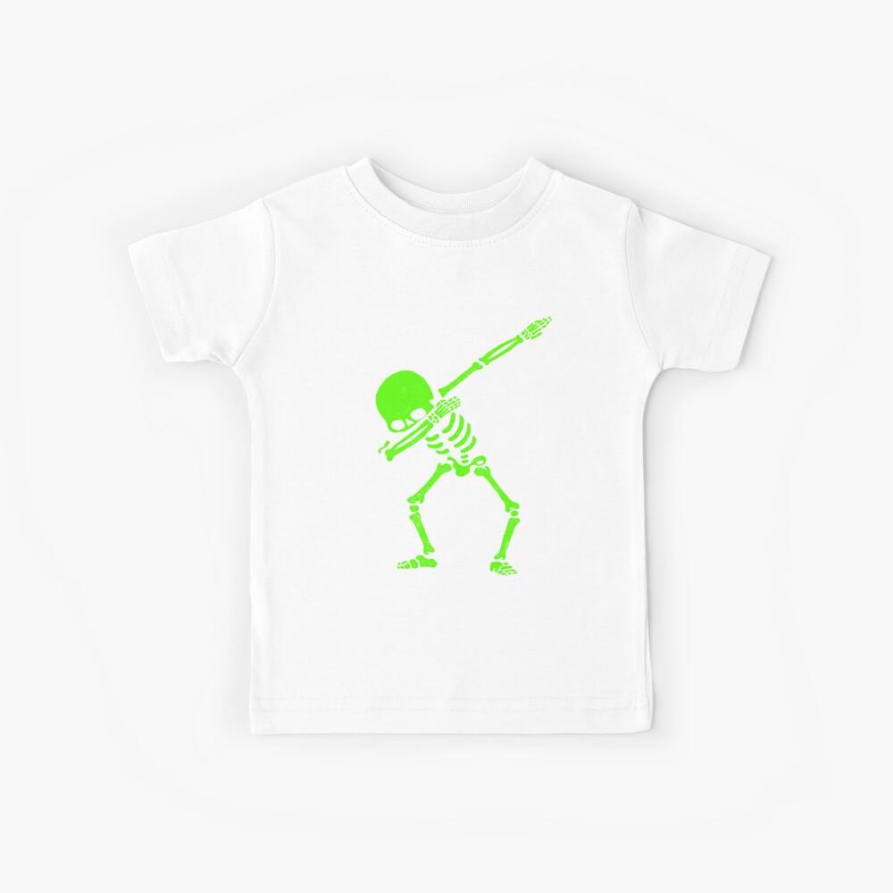 Dabbing Skeleton Green Kids T-Shirt