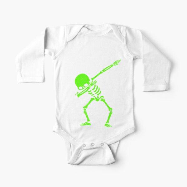Dabbing Skeleton Green Long Sleeve Baby One-Piece