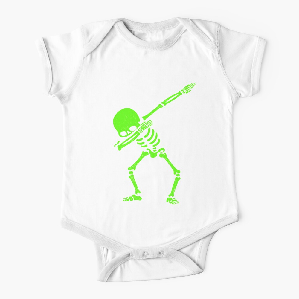 Dabbing Skeleton Green Baby One-Piece