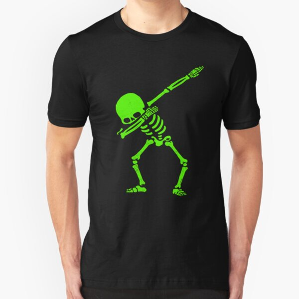 Dabbing Skeleton Green Slim Fit T-Shirt