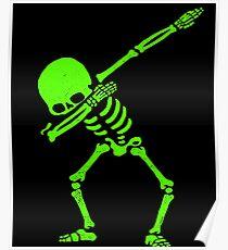 Dabbing Skeleton Green Poster