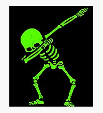 Dabbing Skeleton Green Photographic Print