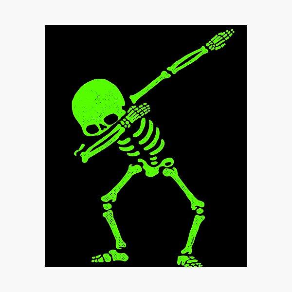 Dabbing Skeleton Green Photographic Print