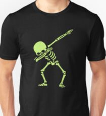 Dabbing Skeleton Fluorescent Green Slim Fit T-Shirt