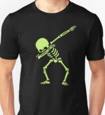 Dabbing Skeleton Shirt Dab Hip Hop Skull Dabbin Glow Effect Slim Fit T-Shirt