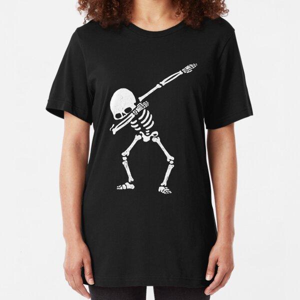 Dabbing Skeleton White Slim Fit T-Shirt