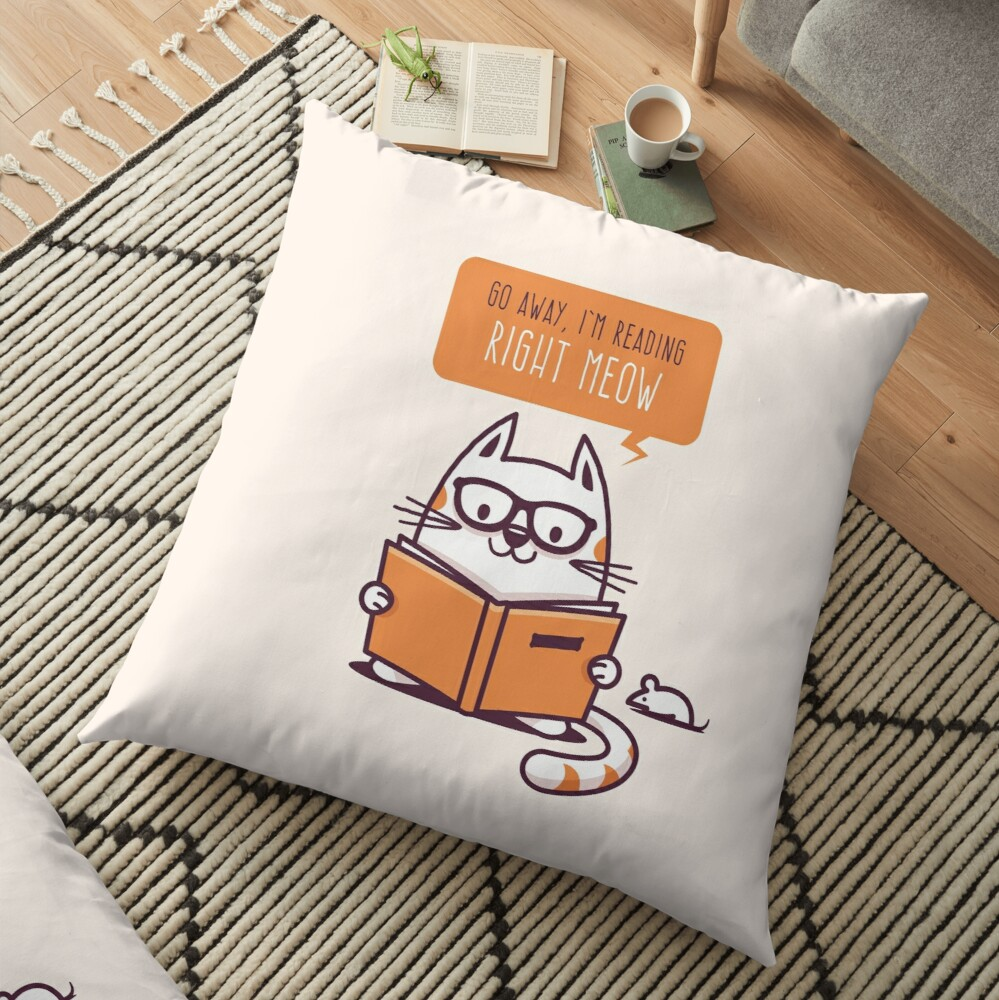 Reading Right Meow for book lovers Floor Pillow