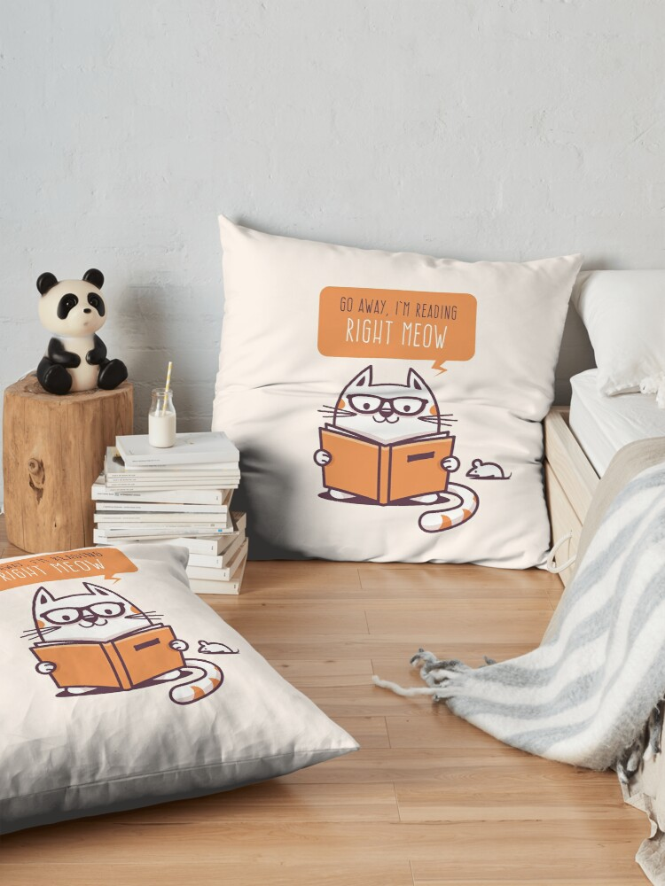 Alternate view of Reading Right Meow for book lovers Floor Pillow