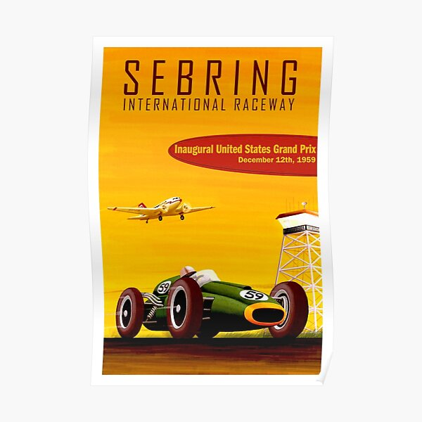 SEBRING: Vintage 1959 Grand Prix Auto Racing Print Poster