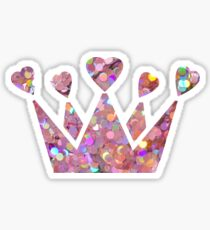 Pretty Pastel Glitter Queen of Hearts Sticker