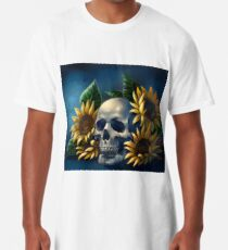 Skull and Sunflowers Long T-Shirt