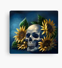 Skull and Sunflowers Canvas Print