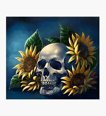 Skull and Sunflowers Photographic Print
