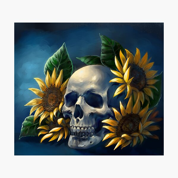 Skull and Sunflowers Photographic Print
