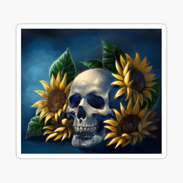 Skull and Sunflowers Sticker
