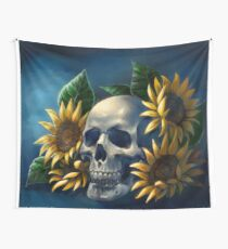 Skull and Sunflowers Wall Tapestry