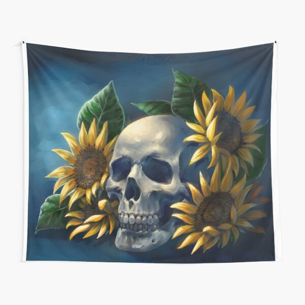 Skull and Sunflowers Tapestry