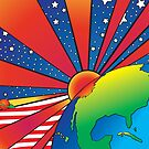 Pop Art Earth with Rising Sun and Stars by Frank Schuster