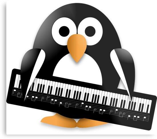 Penguin with piano keyboard by igorsin