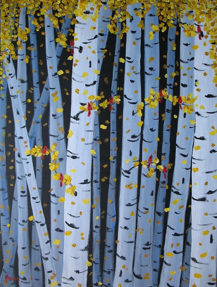 Ten Cardinals In Birch Trees by Pamela Burger